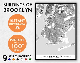 Brooklyn print etsy brooklyn map print printable brooklyn map art brooklyn print new york print nyc map brooklyn art brooklyn poster brooklyn wall art malvernweather Images