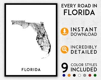 Print Map Of Florida.Florida Map Print Florida Print Florida City Map Florida Etsy