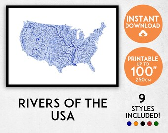 Usa river map | Etsy
