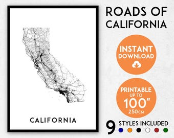 California Map Print California Print California Poster Etsy