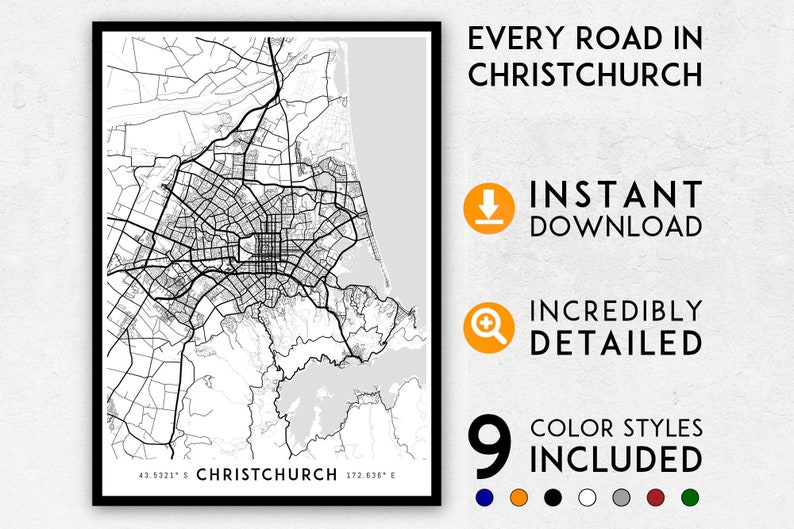 Where Is Christchurch New Zealand On The Map.Christchurch Map Print Christchurch Print New Zealand Map Etsy