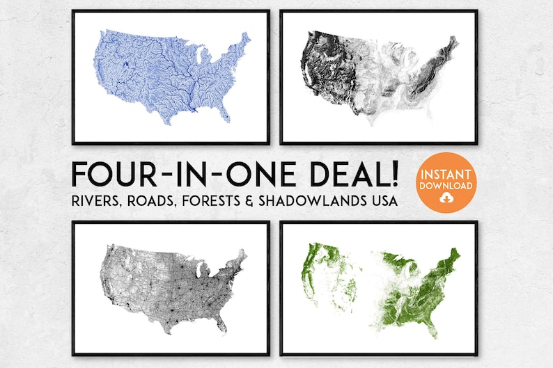 Four-in-one! Rivers, Roads, Forests & Shadowlands USA map | Printable USA  map, USA art, America poster, America map, United States print
