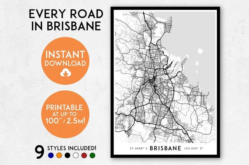 Brisbane Map Australia.Brisbane Map Print Printable Brisbane Map Art Brisbane Print Queensland Australia Map Brisbane Art Brisbane Poster Brisbane Wall Art
