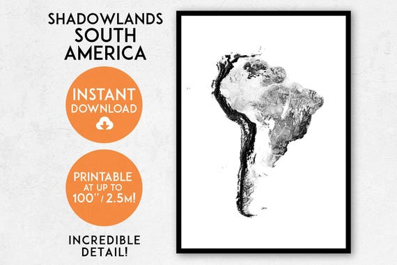 South America Map Print Printable South America Map Art Etsy