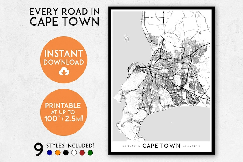 photograph about Printable Africa Map named Cape City map print, Printable Cape Metropolis map artwork, South Africa map, Cape City print, Cape City artwork, Cape Metropolis poster, Cape Metropolis wall artwork