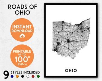 Roads of Ohio map art | Printable Ohio map print, Ohio map, Ohio print, Ohio poster, Ohio art, Ohio gift, Printable poster map, Wall art map