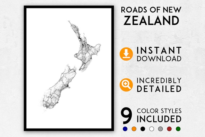 Download New Zealand Map.Roads Of New Zealand Map Print New Zealand Print New Zealand City Map New Zealand Poster New Zealand Wall Art Map Of New Zealand