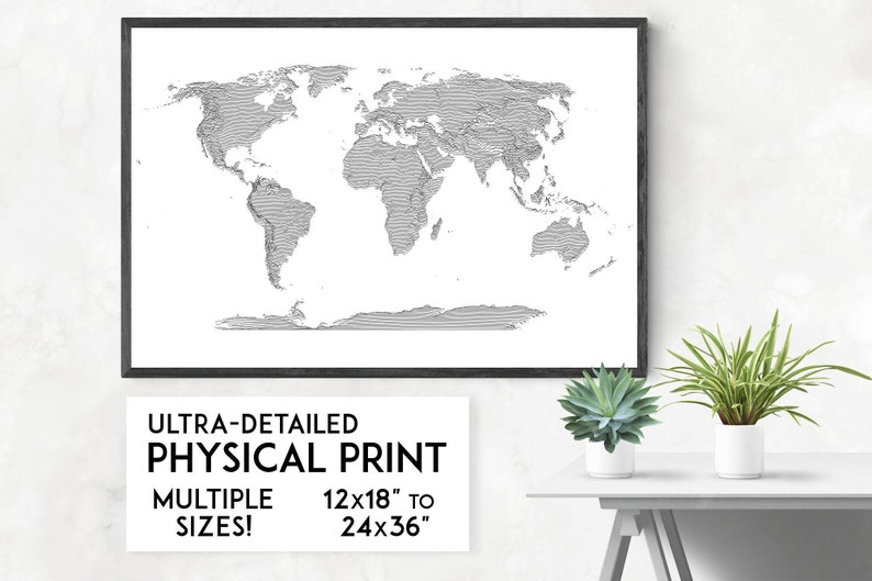 Topo-lines World Map print Physical world map poster World image 0