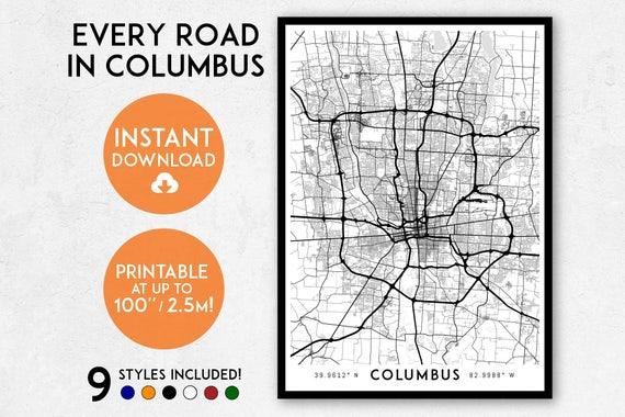 Columbus map print printable columbus map art columbus malvernweather Images