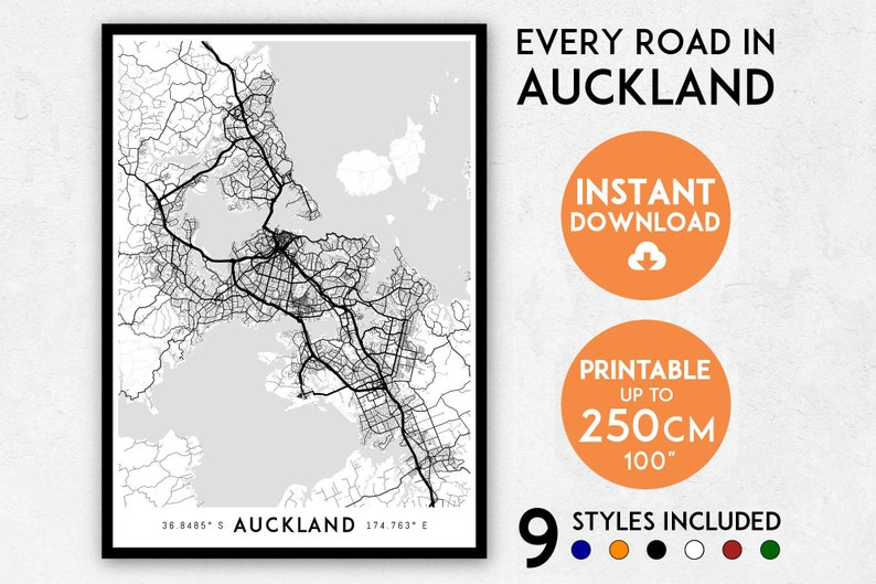 City Map Of New Zealand.Auckland Map Print Auckland Print Auckland City Map New Zealand Map Nz Map Nz Print Auckland Poster Auckland Wall Art Auckland Art
