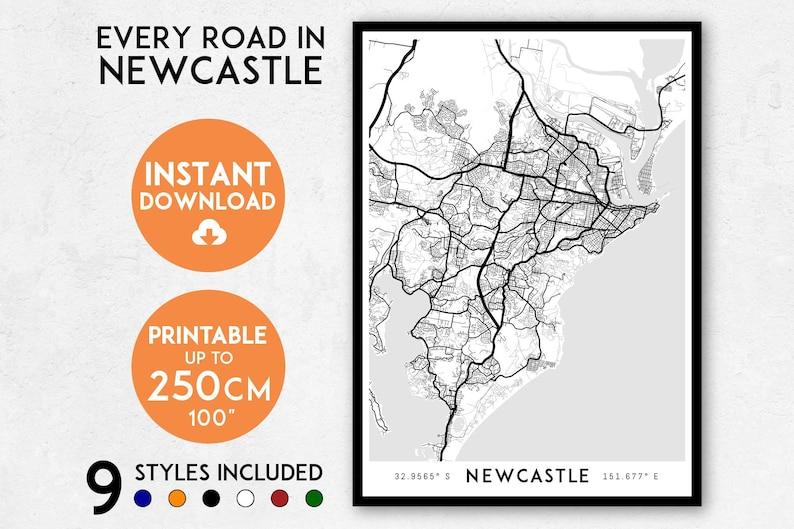 Australia Map Newcastle.Newcastle Map Print Printable Newcastle Map Art Australia Map Newcastle Print Newcastle Art Newcastle Poster Newcastle Wall Art Print