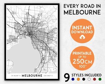 Melbourne map print, Melbourne print, Melbourne city map, Australia map print, Melbourne poster map, Melbourne wall art, Map of Melbourne