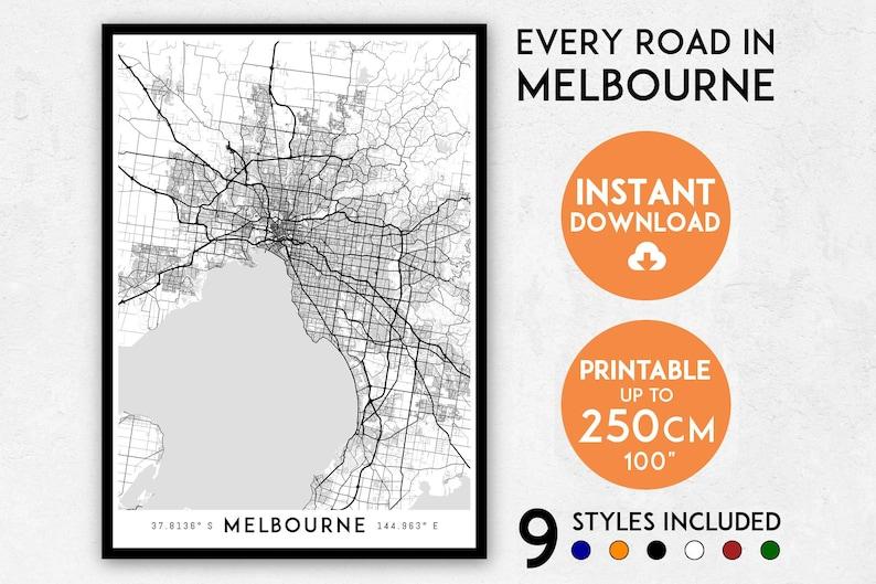 Melbourne map print Melbourne print Melbourne city map | Etsy on