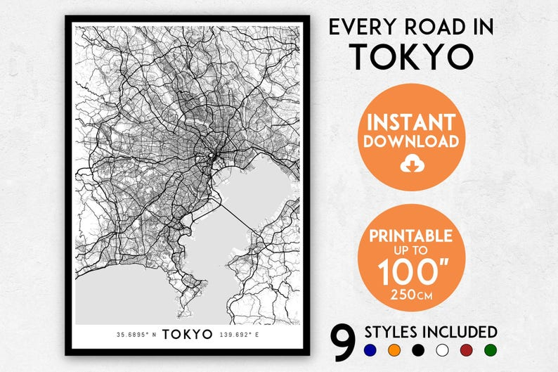 picture relating to Printable Maps of Japan known as Tokyo map print, Tokyo print, Tokyo town map, Japan map, Tokyo poster, Tokyo wall artwork, Map of Tokyo, Tokyo artwork print, Tokyo map poster