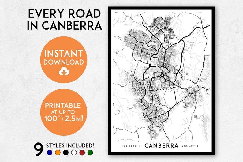 Australia Canberra Map.Canberra Map Print Printable Canberra Map Art Canberra Etsy