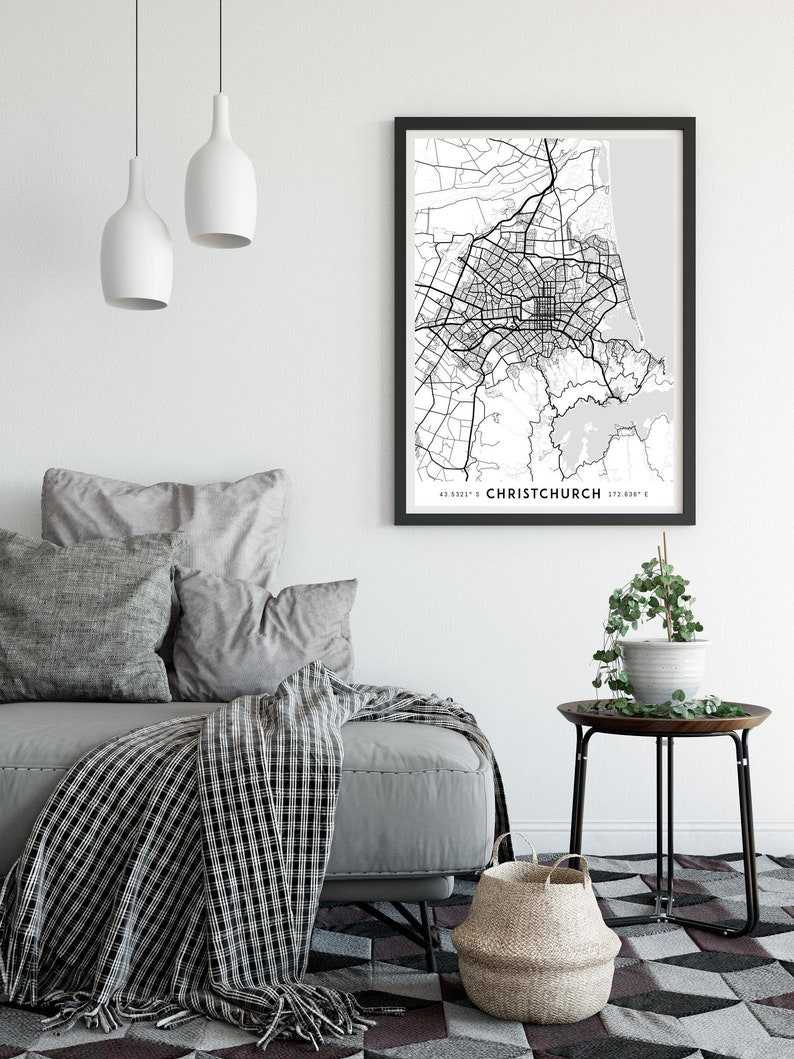 Christchurch map print, Christchurch print, New Zealand map, NZ map,  Christchurch poster, Christchurch wall art, Map of Christchurch