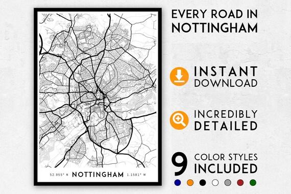 Nottingham Map Print Nottingham Print Nottingham City Map Etsy