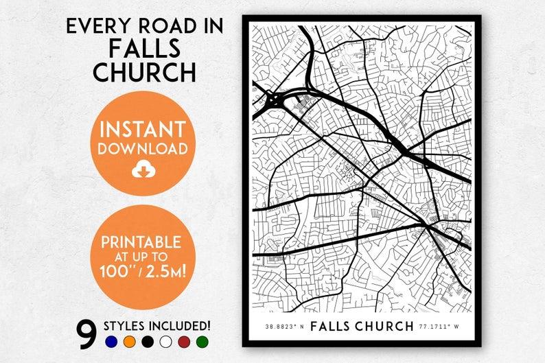 Falls Church Virginia Map.Falls Church Map Print Printable Falls Church Map Art Falls Etsy