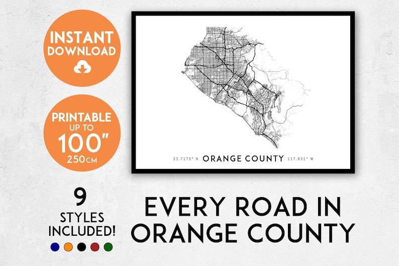 image relating to Printable Map of Orange County Ca titled Orange County map print, Printable Orange County map artwork, OC map, Los Angeles map, Orange County print, California map, Orange County poster