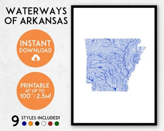 Arkansas map print, Printable Arkansas map art, Arkansas print, USA map, Arkansas art, Arkansas poster, Arkansas wall art, Arkansas rivers