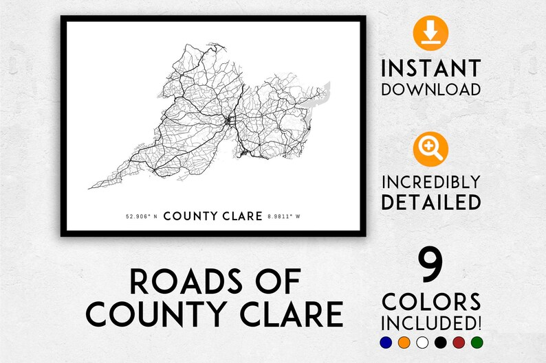 Map Of Ireland Highways.County Clare Map Print County Clare Print Ireland Map County Clare Poster County Clare Wall Art County Clare Art Ireland Print