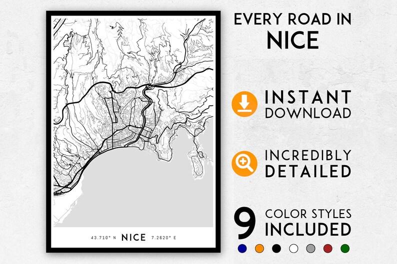 Nice Map Print Nice Print Nice City Map France Map Nice Etsy