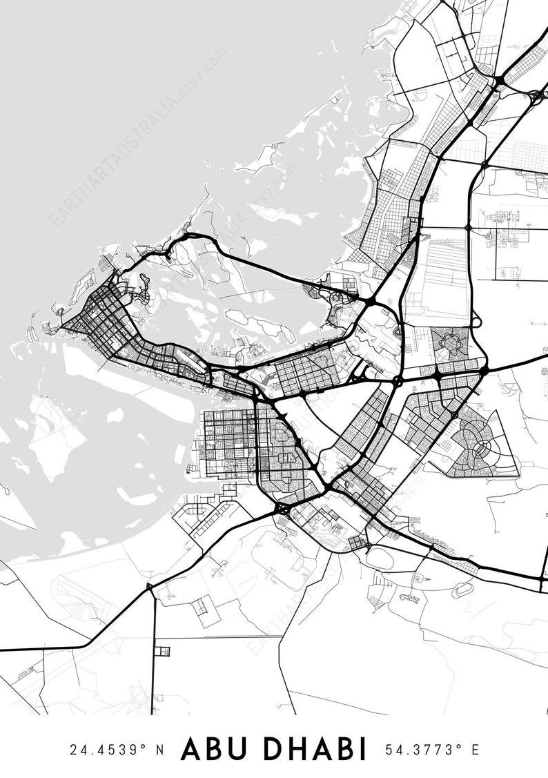 Abu Dhabi map print Abu Dhabi print Abu Dhabi city map Abu | Etsy