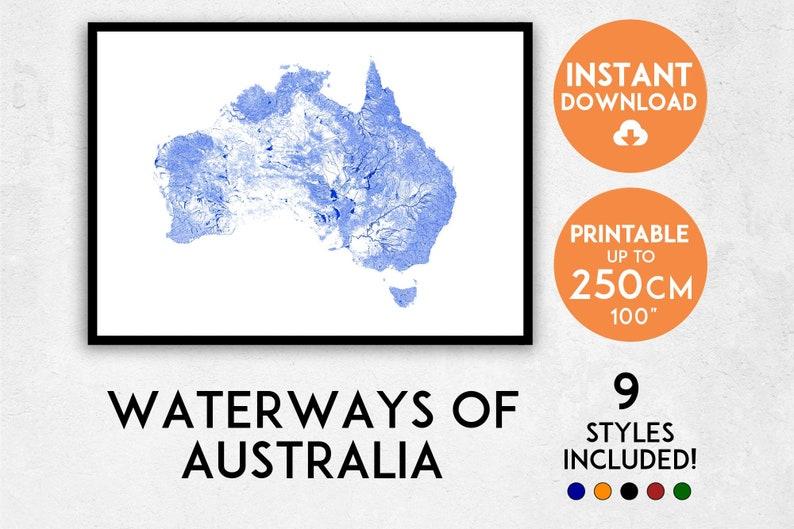 Download Map Of Australia.Australia Map Print Australia Print Australia Map Australia Poster Australia Wall Art Map Of Australia Rivers Of Australia Art Print