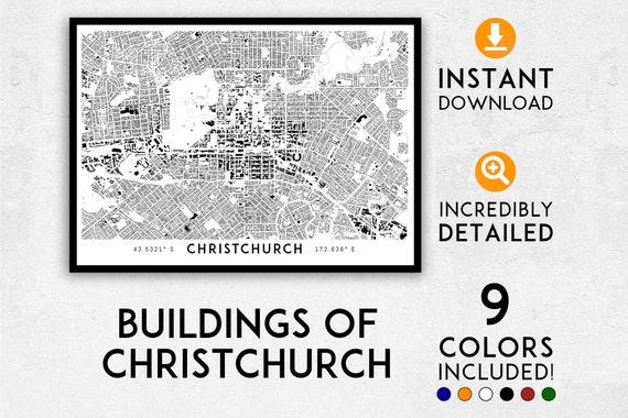 New Zealand Christchurch Map.Christchurch Map Print Christchurch Print Christchurch City Map Christchurch Poster Christchurch Wall Art New Zealand Map Nz Map
