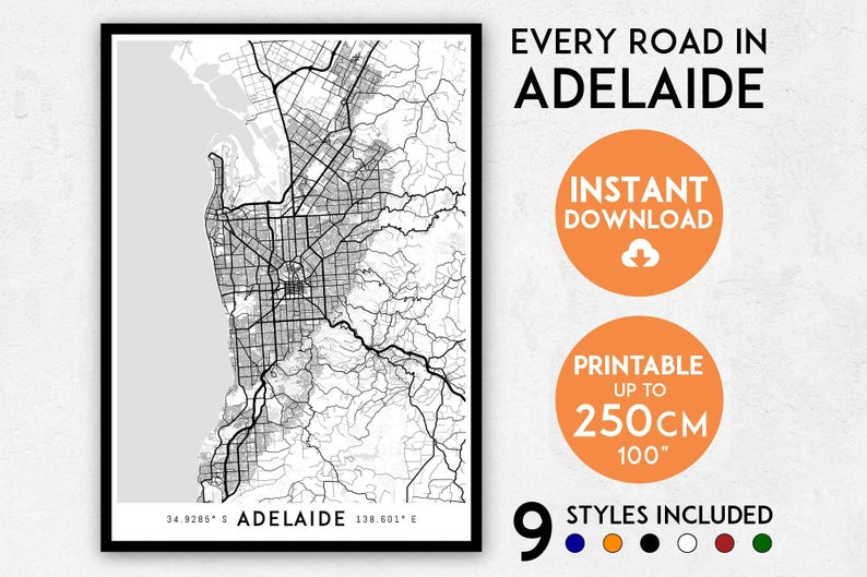Adelaide Map Of Australia.Adelaide Map Print Adelaide Print Adelaide City Map Australia Map Adelaide Poster Adelaide Wall Art Map Of Adelaide Adelaide Art