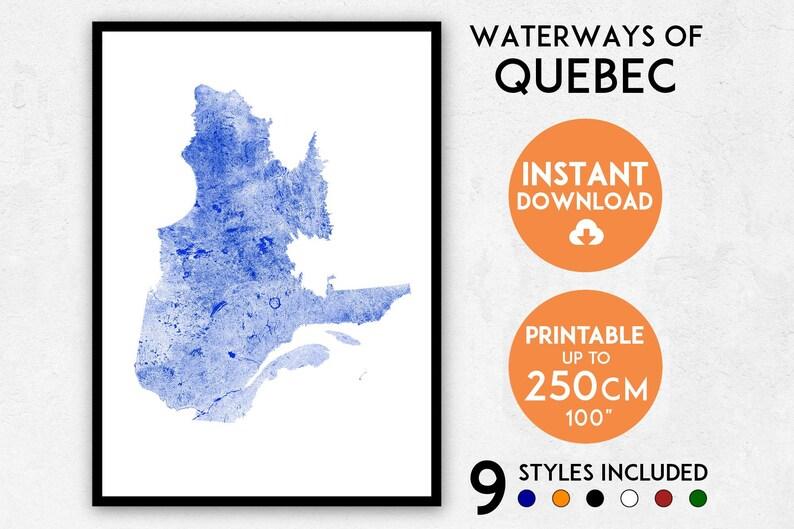 Quebec Map Print Quebec Print Canada Map Canada Print Etsy