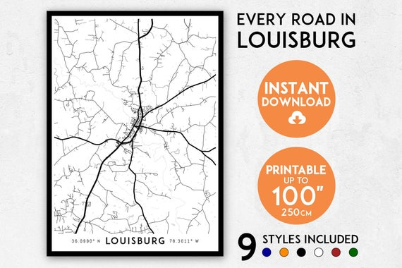 Louisburg Map Print Louisburg Print Louisburg City Map Etsy