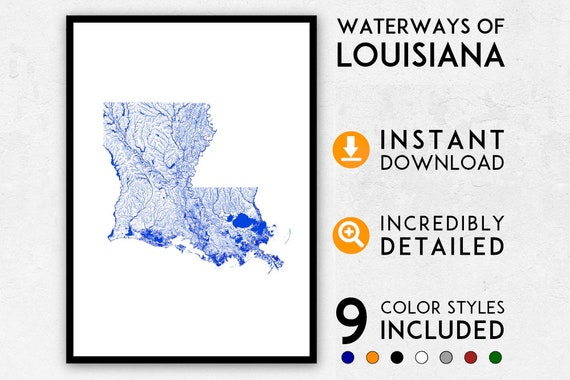Louisiana New Orleans Map.Louisiana Map Print Louisiana Print New Orleans Map Print Etsy