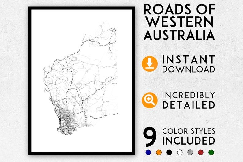 Map Perth Australia.Roads Of Western Australia Map Poster Wa Map Wa Print Western Australia Print Western Australia Map Print Perth Map Wa Poster