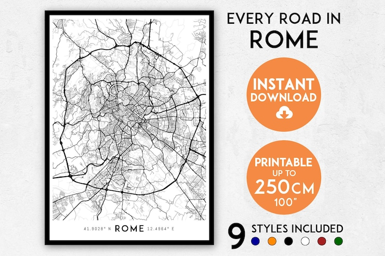 Rome map print Rome print Rome city map Rome poster Italy | Etsy Download Map Of Rome on