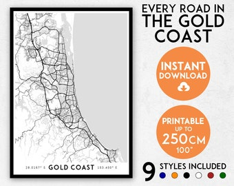Gold Coast map print, Gold Coast print, Gold Coast city map, Queensland map, Gold Coast poster, Gold Coast wall art, Map of the Gold Coast