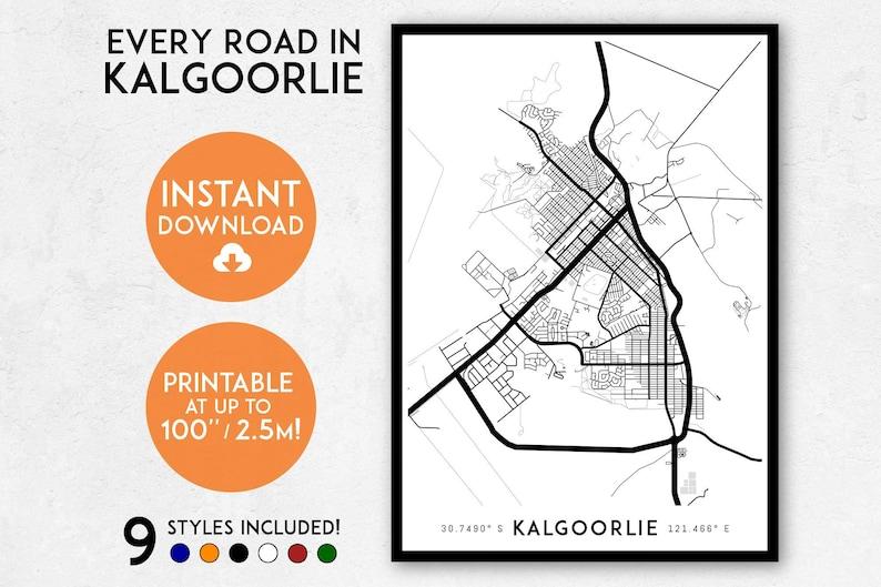 Map Of Western Australia Printable.Kalgoorlie Map Print Printable Kalgoorlie Map Art Western Etsy