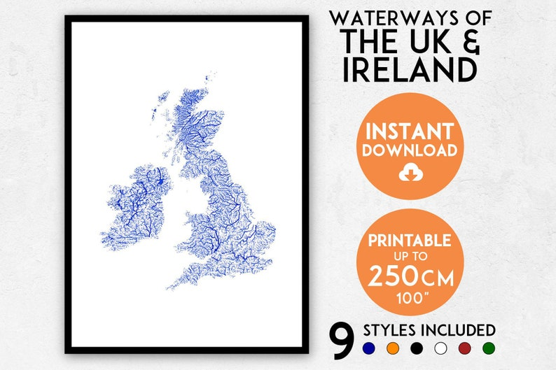 photograph about Printable Map of Uk and Ireland titled British isles map artwork, Eire map, Printable British isles map print, United kingdom print, England print, Britain print, England map print, Eire poster, England wall artwork