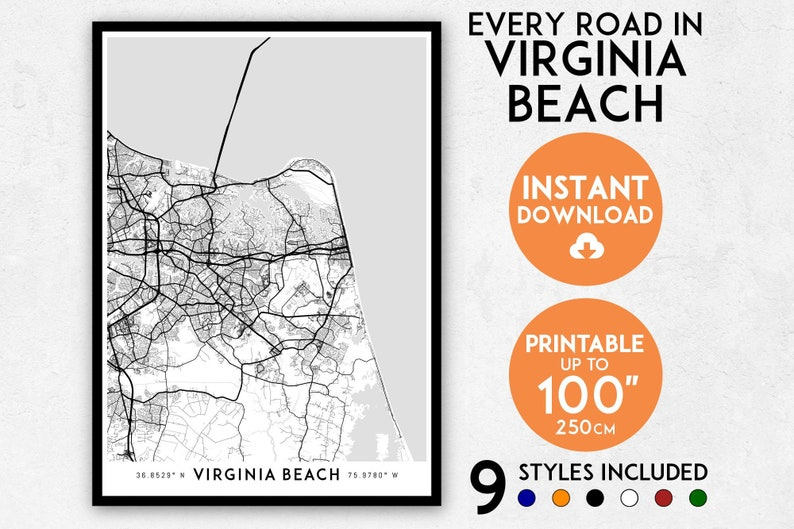 photograph about Printable Maps of Virginia named Virginia Seashore map print, Virginia Seashore print, Virginia Beach front metropolis map, Virginia Seashore poster, Virginia Beach front wall artwork, Virginia map