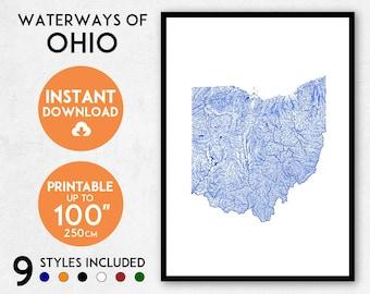 Ohio map print, Ohio print, USA map, Ohio poster, Ohio wall art, Map of Ohio, Ohio art print, Ohio map poster, Ohio gift, Ohio map art
