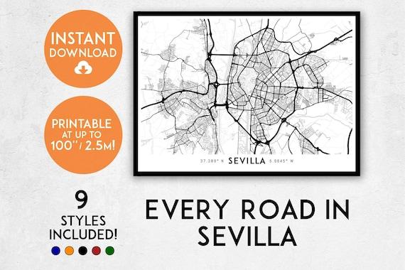 Sevilla Map Print Printable Seville Map Art Sevilla Print Etsy