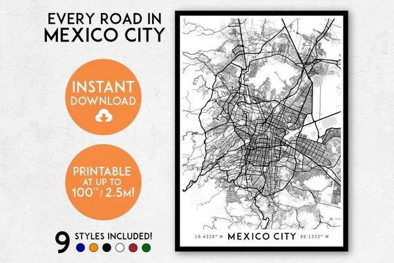 Mexico City map print, Printable Mexico City map art, Mexico City print,  Mexico City art, Mexico City poster, Ciudad de Mexico City wall art