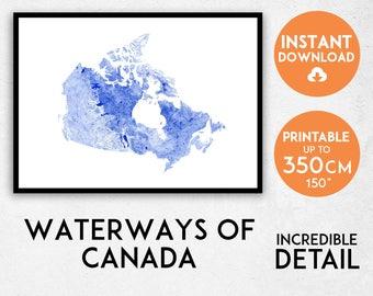 Canada map print, Canada print, Canada poster, Canada wall art, Map of Canada, Canada art print, Canada map poster, Canada rivers
