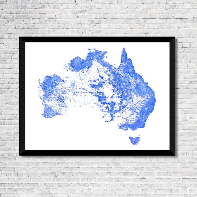 Australia Map Rivers.Every River In Australia Map Art Printable Australia Map Print Australia Print Australia Poster Australia Art Australia Wall Art