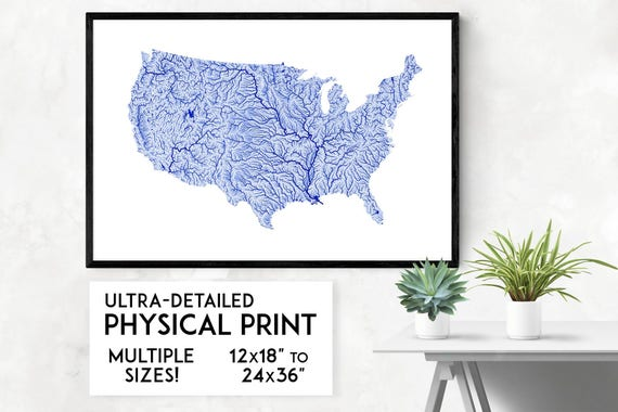 Rivers of the USA map poster, USA map print, America print, America art,  USA poster, America wall art, United States map, America art