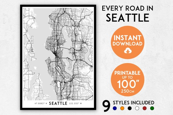 Washington State Map Seattle.Seattle Map Print Seattle Print Seattle City Map Washington Etsy