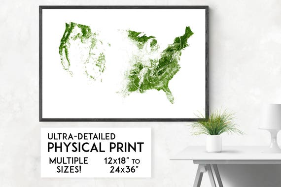 Map Of Usa Forests.Forests Of The Usa Print Physical Usa Map Print Usa Poster Etsy