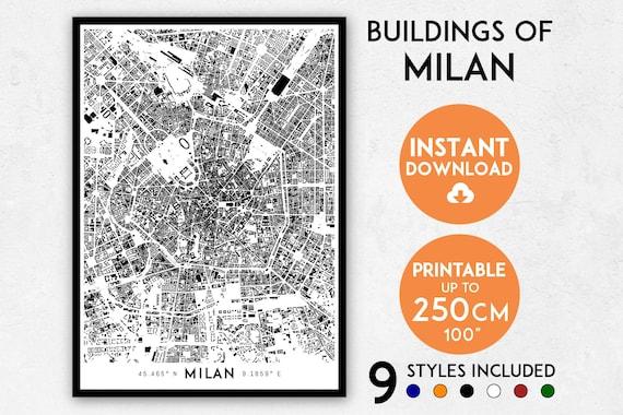 Milan map print Milan print Milan city map Italy map print | Etsy