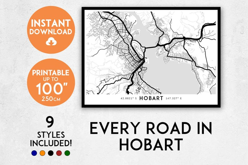 Australia Map Hobart.Hobart Map Print Printable Hobart Map Art Tasmania Map Print Hobart Print Australia Map Hobart Art Hobart Poster Hobart Wall Art