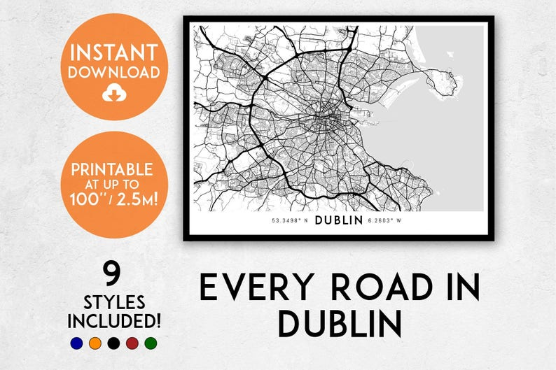 Dublin map print Printable Dublin map art Dublin print | Etsy on